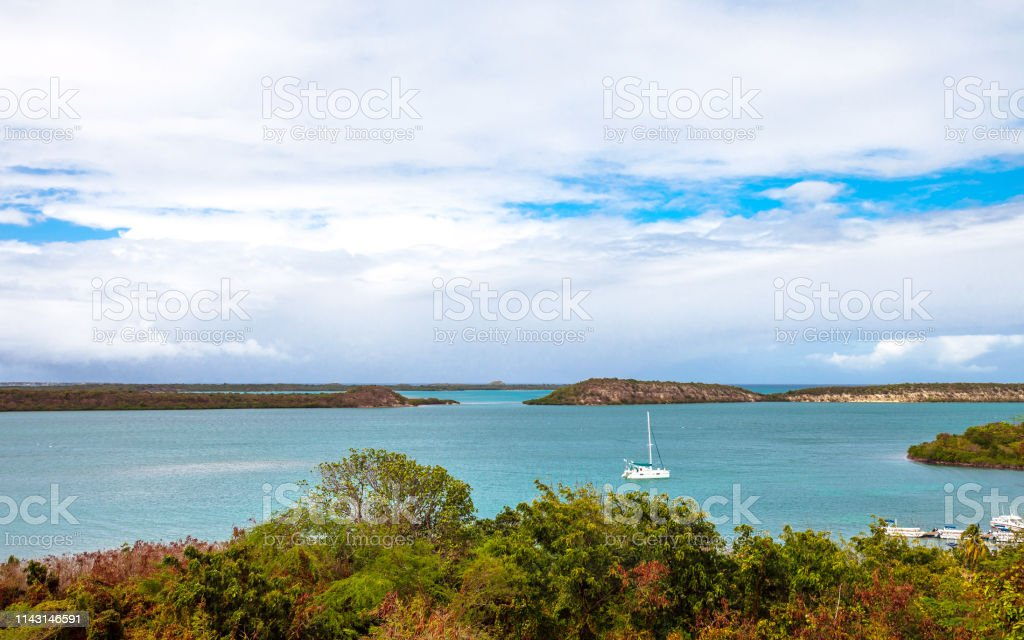 Caribbean view - Ellen Bay, Antigua & Barbuda stock photo