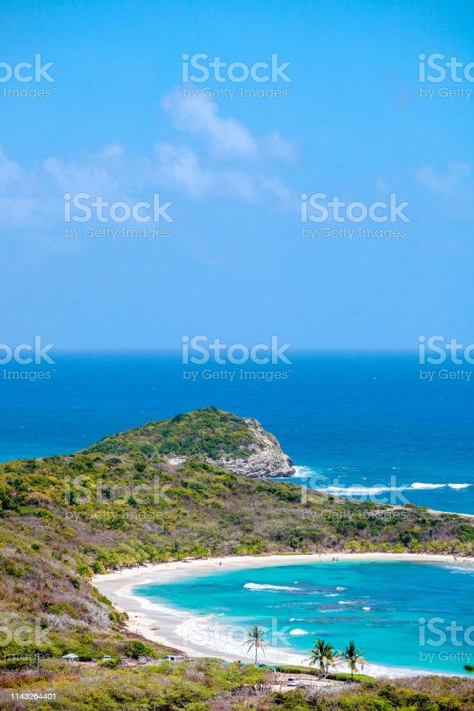 Caribbean view - Half Moon Bay, Antigua & Barbuda stock photo