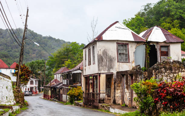 Caribbean village in the mountains - Jamaica stock photo