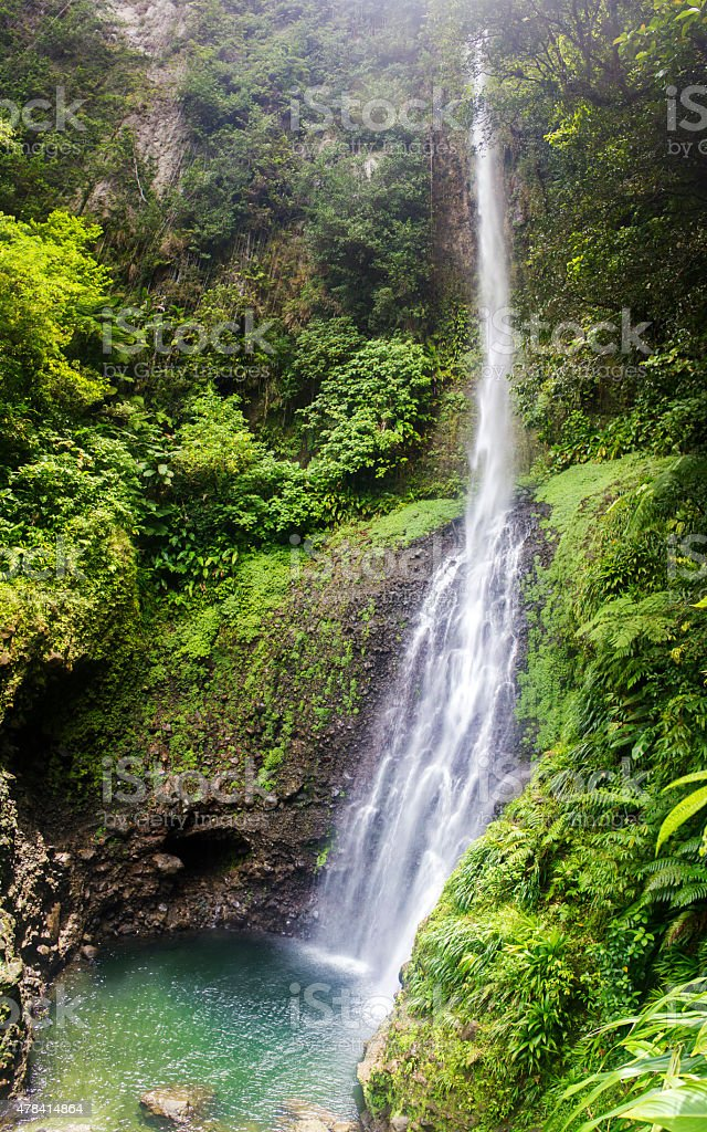 Caribbean waterfall: Middleham Falls, Dominica stock photo