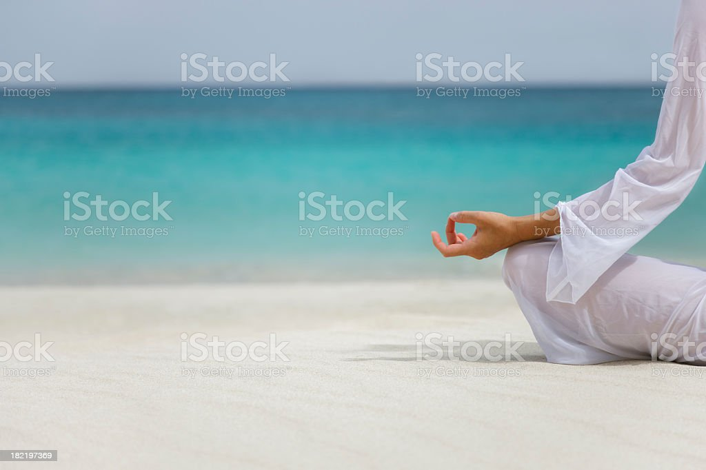 Caribbean yoga woman stock photo