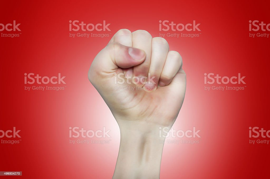 caricature left fist raising up stock photo