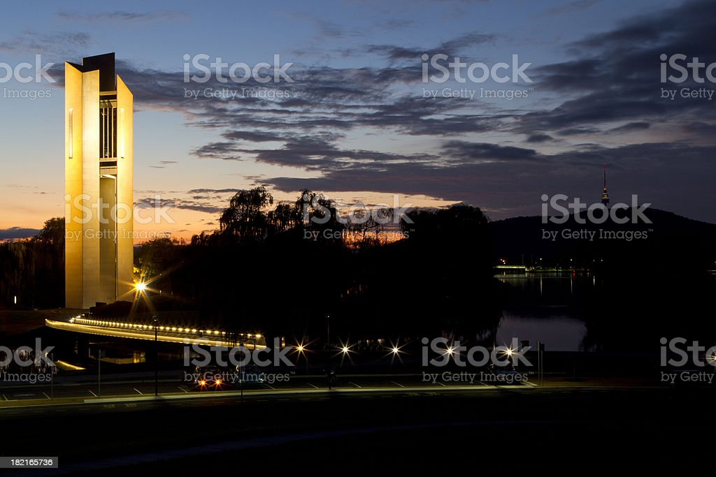 Carillon Bell Tower during sunset, Canberra stock photo