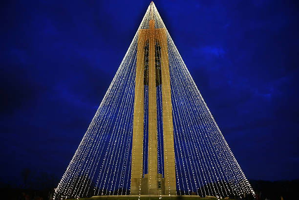Carillon Bell Tower with Christmas Lights at Night, Horizontal, HDR stock photo