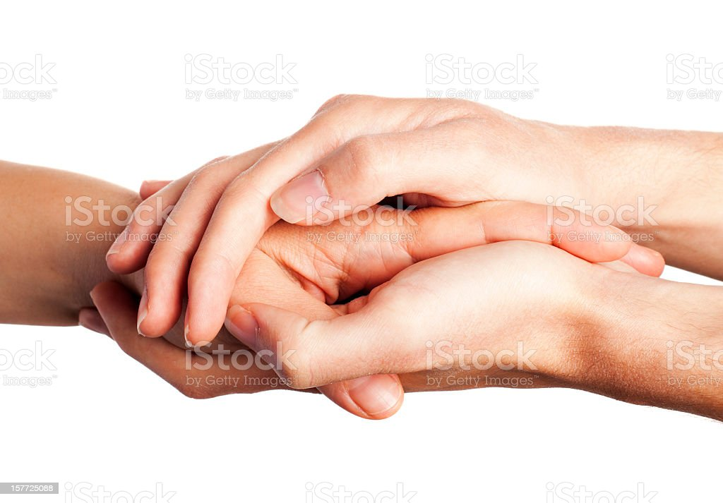 Caring comforting hands on white stock photo