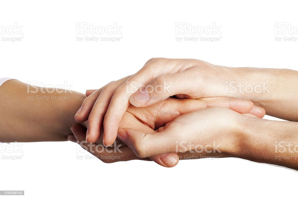 Caring comforting hands stock photo