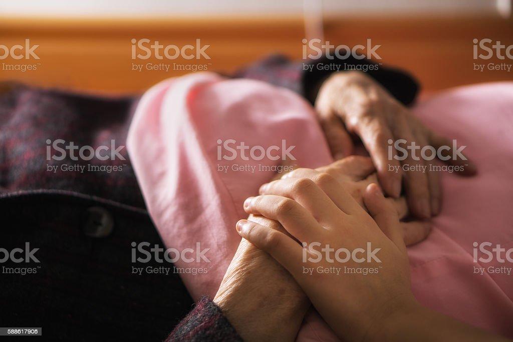 Caring elderly stock photo