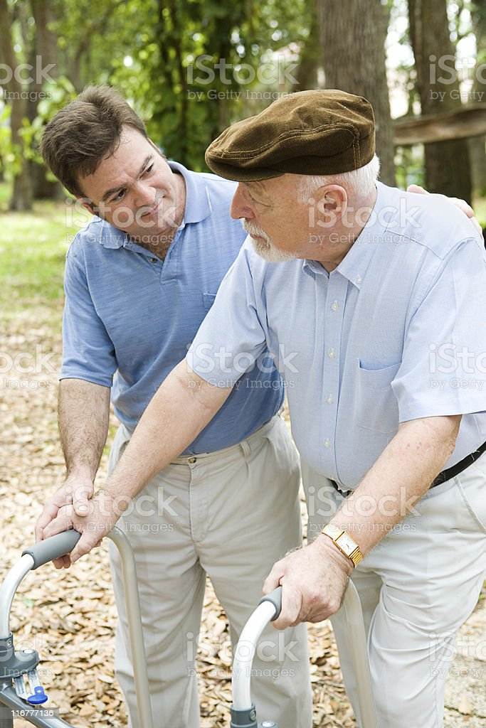 Caring For Dad stock photo