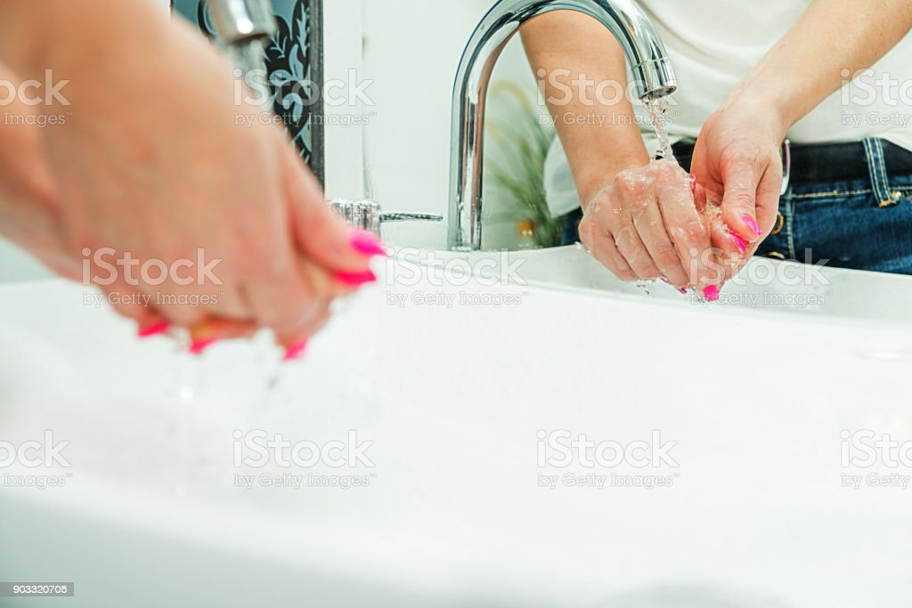 Caring for personal hygiene. stock photo
