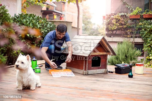 Mature man building dogs house for his pet
