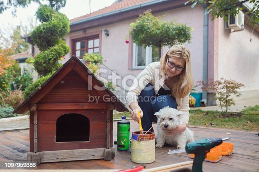 Mature woman building dogs house for her dog