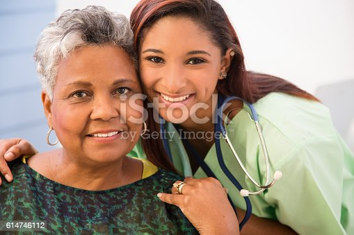 istock Caring, mixed-race nurse and senior adult patient in hospital. 614746112