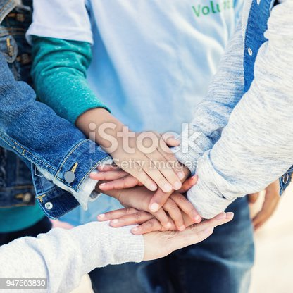 866758230 istock photo Caring volunteers together in unity 947503830