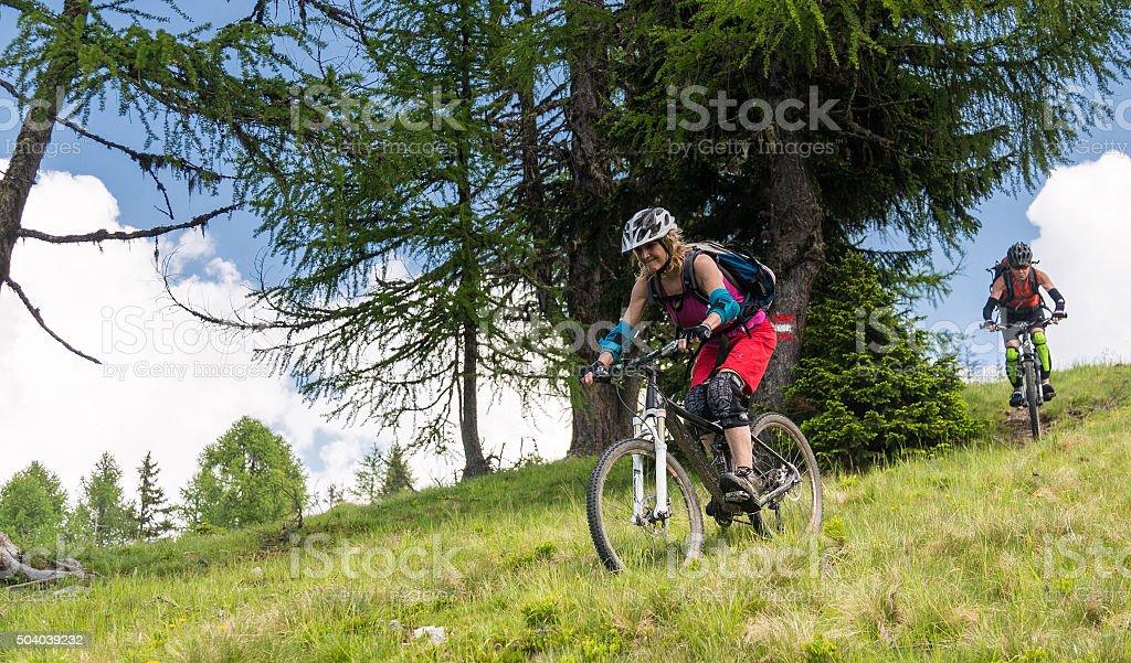 Carinthian Mountainbike Ladies Downhill, Austria stock photo