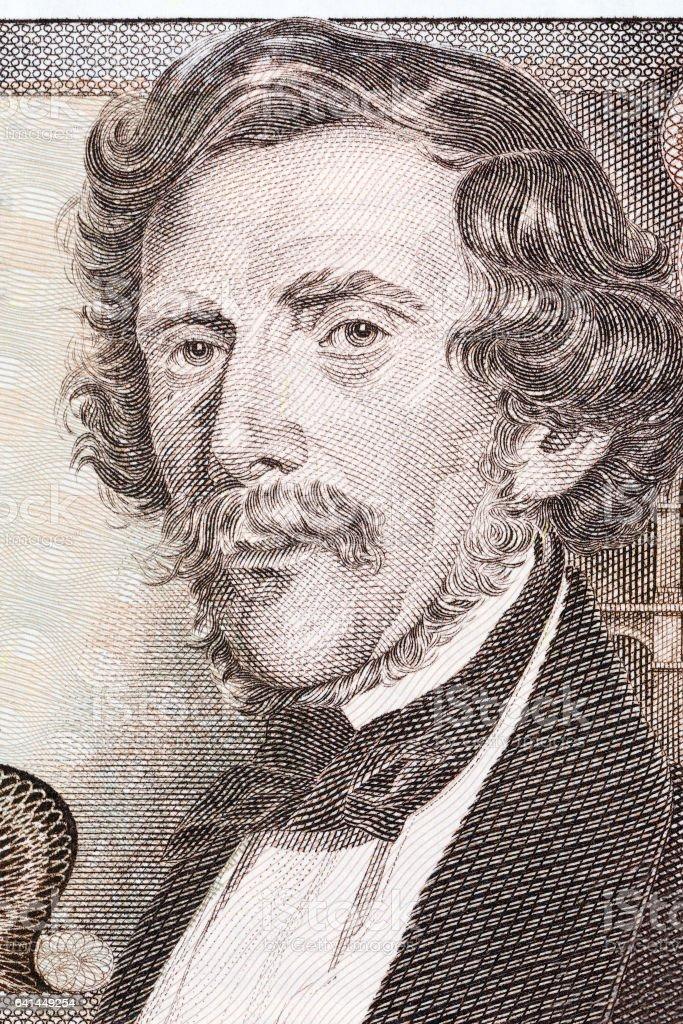 Carl Ritter von Ghega portrait from Austrian money stock photo