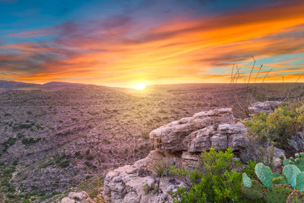 Carlsbad Cavern National Park, New Mexico, USA overlooking Rattlesnake Canyon stock photo