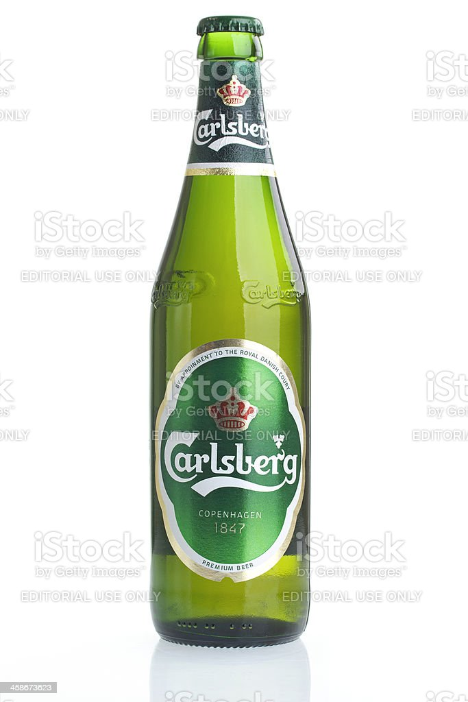Carlsberg Bottle on White stock photo