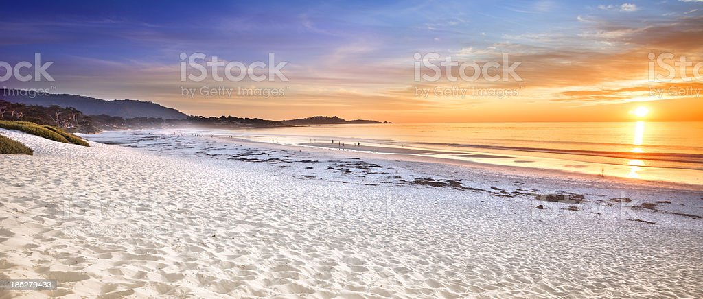 Carmel Beach panoramic in Carmel-by-the-Sea royalty-free stock photo
