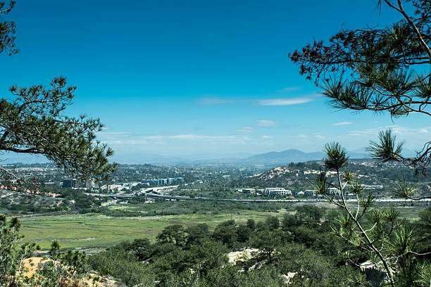 Carmel Valley from Torrey Pines Sate Reserve stock photo