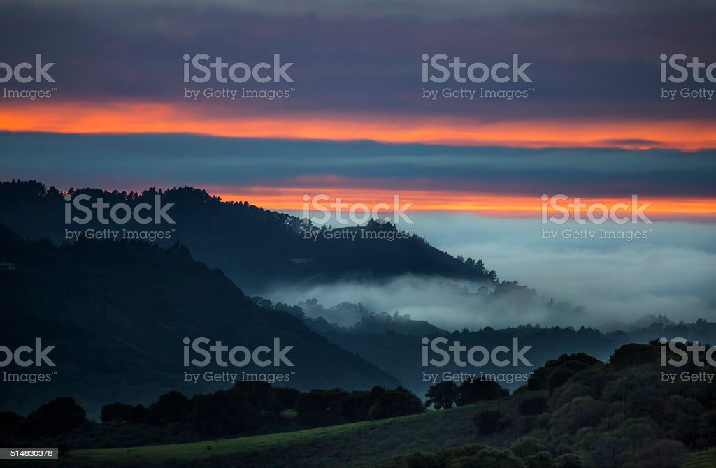 Carmel Valley Sunset stock photo