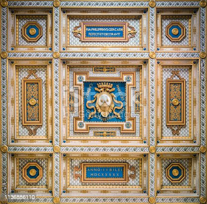 Carmelite Coat of Arms in the ceiling of San Martino ai Monti Church in Rome, Italy.