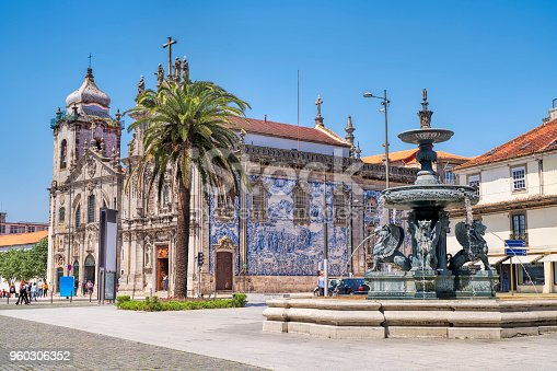 PORTO, PORTUGAL - APRIL 25, 2018: Carmelites church with Our Lady of Mount Carmel in the center of Porto, Portugal.