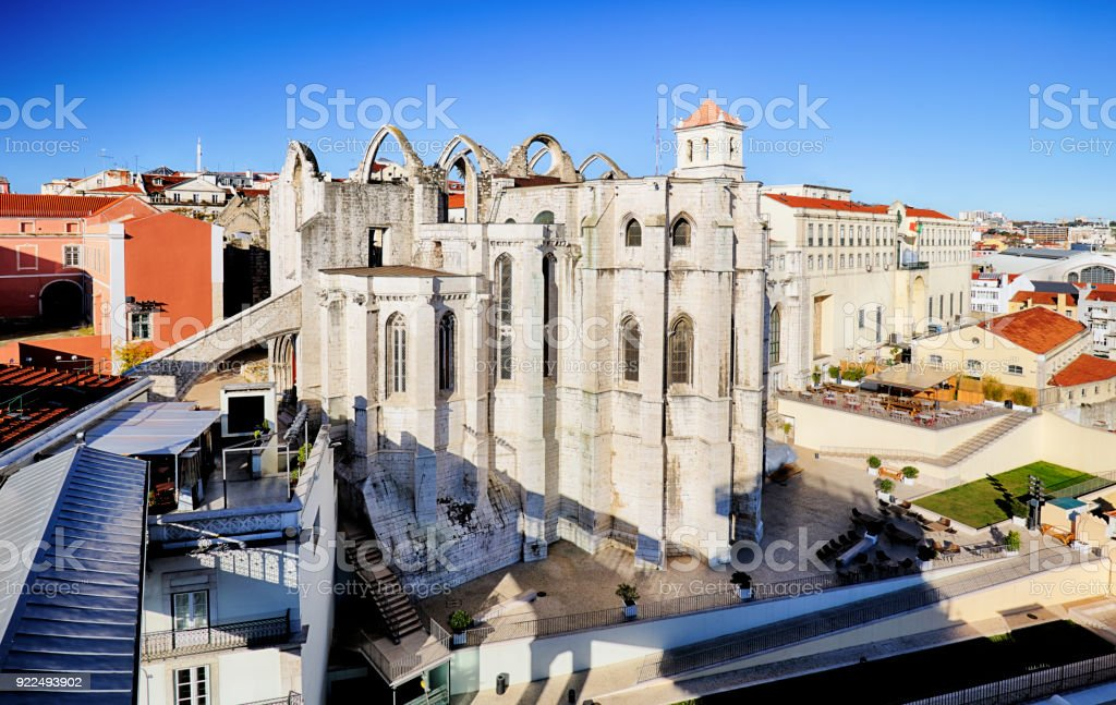 Carmo Convent in Lisbon, Portugal stock photo