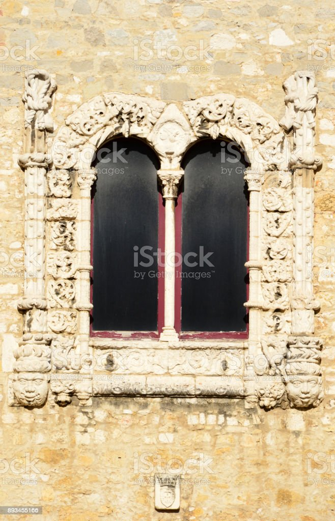 Carmo Convent's Church - Convento do Carmo - ornate window, Lisbon, Portugal stock photo