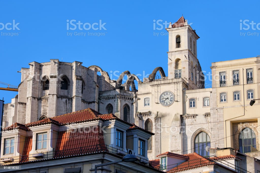 Igreja do Carmo Ruins in Lisbon stock photo