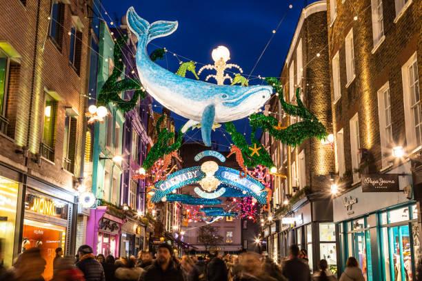Carnaby Street at Christmas 2019 stock photo