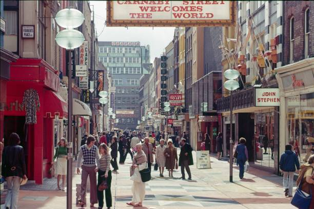 Carnaby Street, London London, England, UK, 1978. The well-known shopping street with its pedestrian zone and various shops in the heart of London. For fashionable locals and tourists always worth a stroll. carnaby street stock pictures, royalty-free photos & images