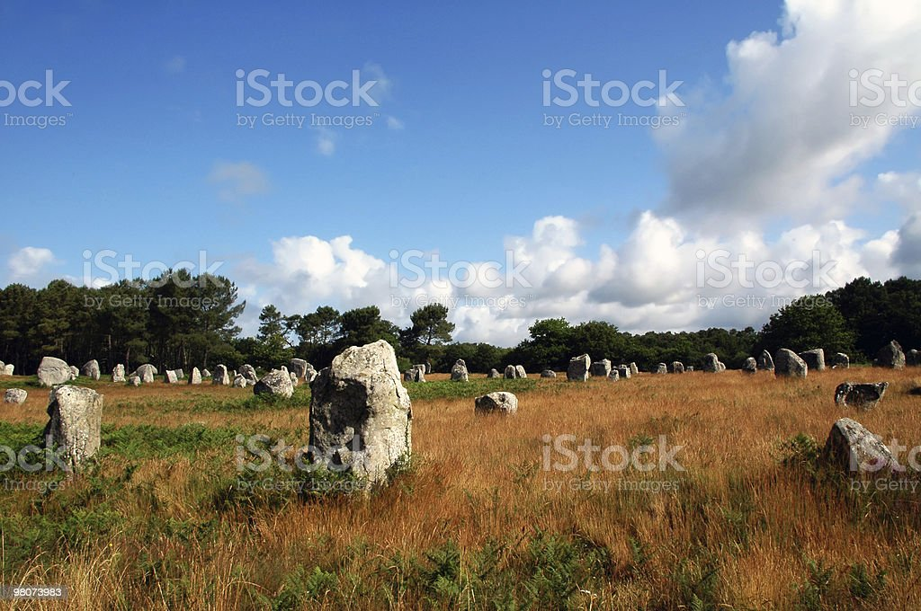 Carnac (Brittany) - Alignements, dolmens and menhirs royalty-free stock photo