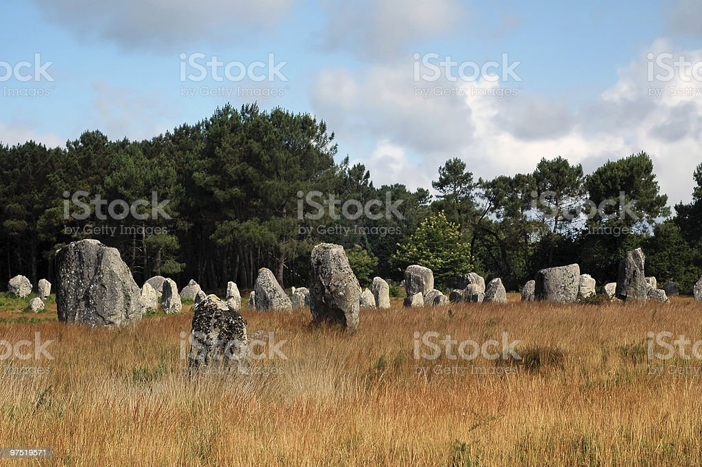 Carnac (Brittany) - Menhirs in a bright summer morning royalty-free stock photo