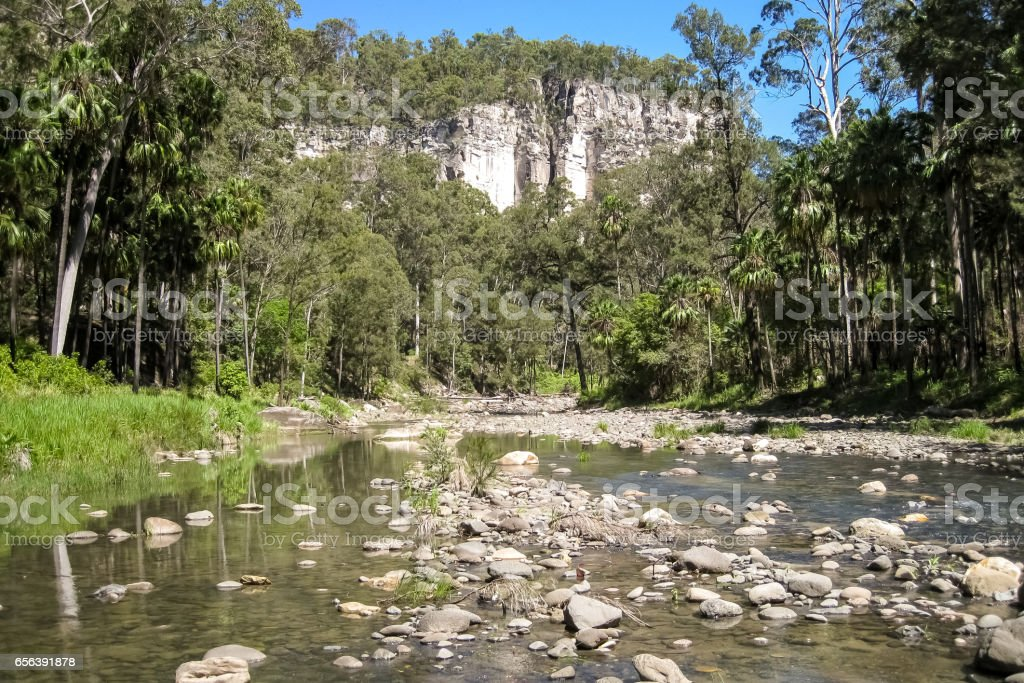 Carnarvon Creek with towering walls stock photo