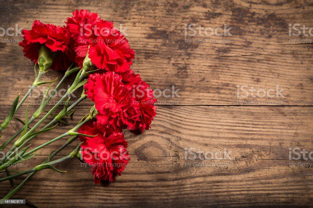 carnations on wooden background stock photo