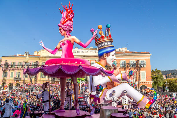 Carnaval de Nice, This years theme King of Cinema (ROI du Cinéma)  - stock photo