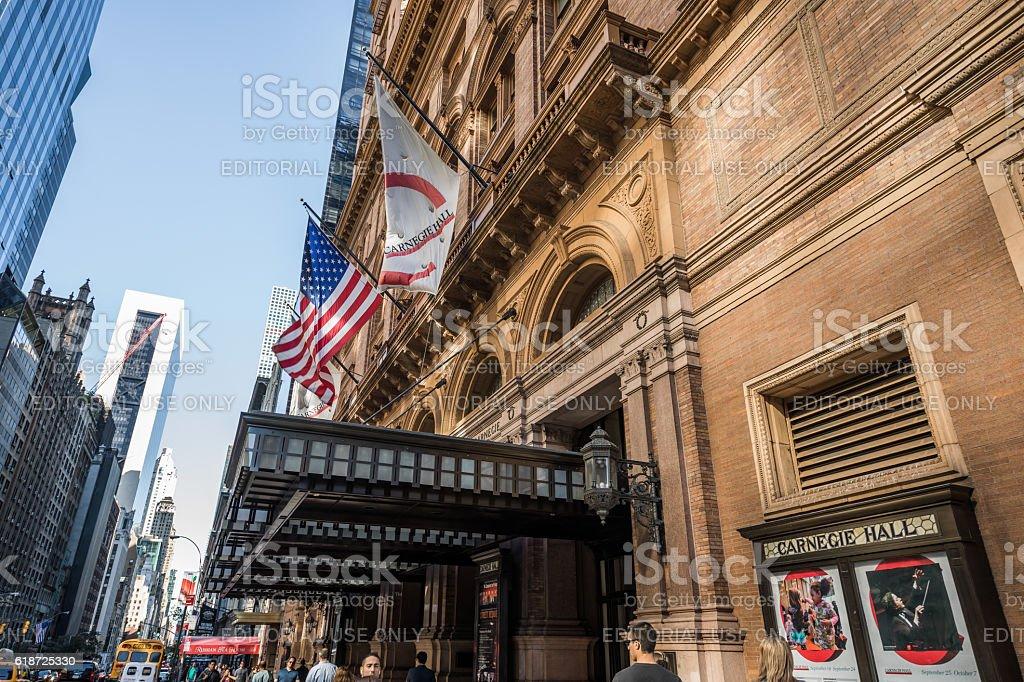 Carnegie Hall Entrance, Manhatten, New York City, United States stock photo