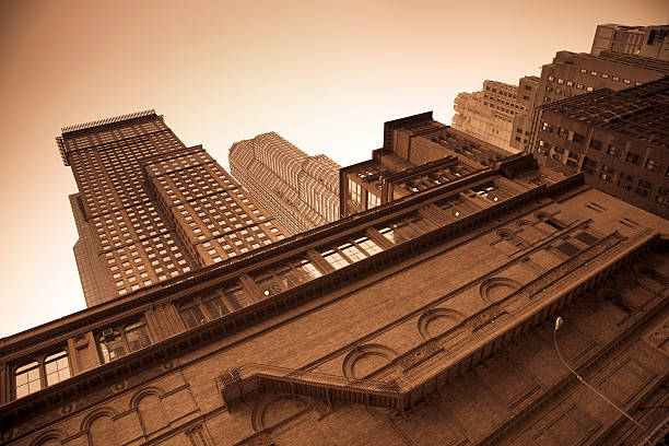 Carnegie Hall exterior in sepia stock photo