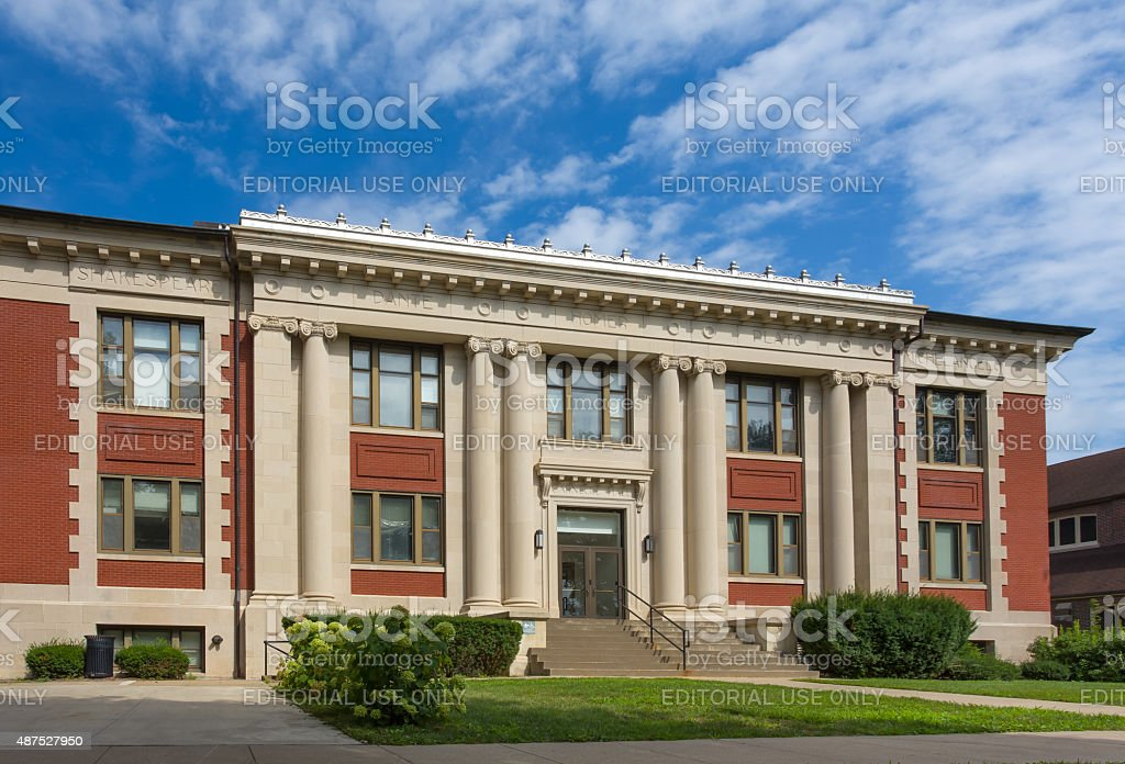 Carnegie Hall on the campus of Grinnell College stock photo