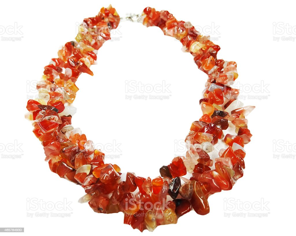 carnelian gemstone beads necklace jewelery stock photo