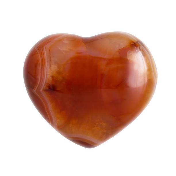carnelian heart shaped stone stock photo