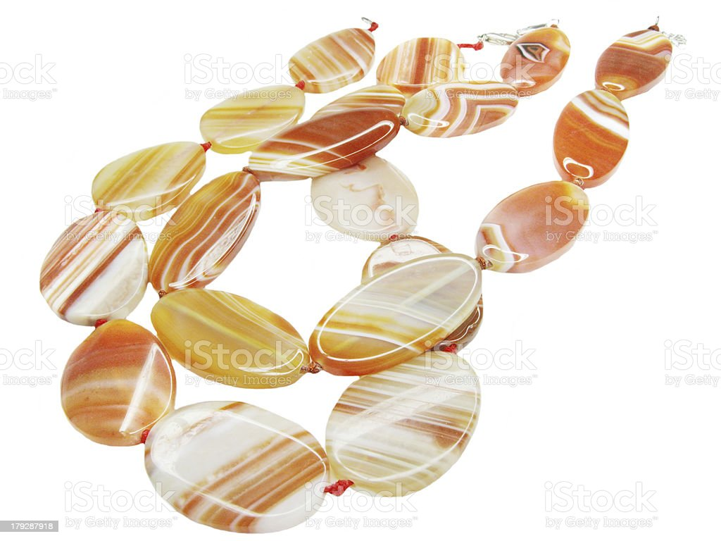 carnelian semigem red beads stock photo