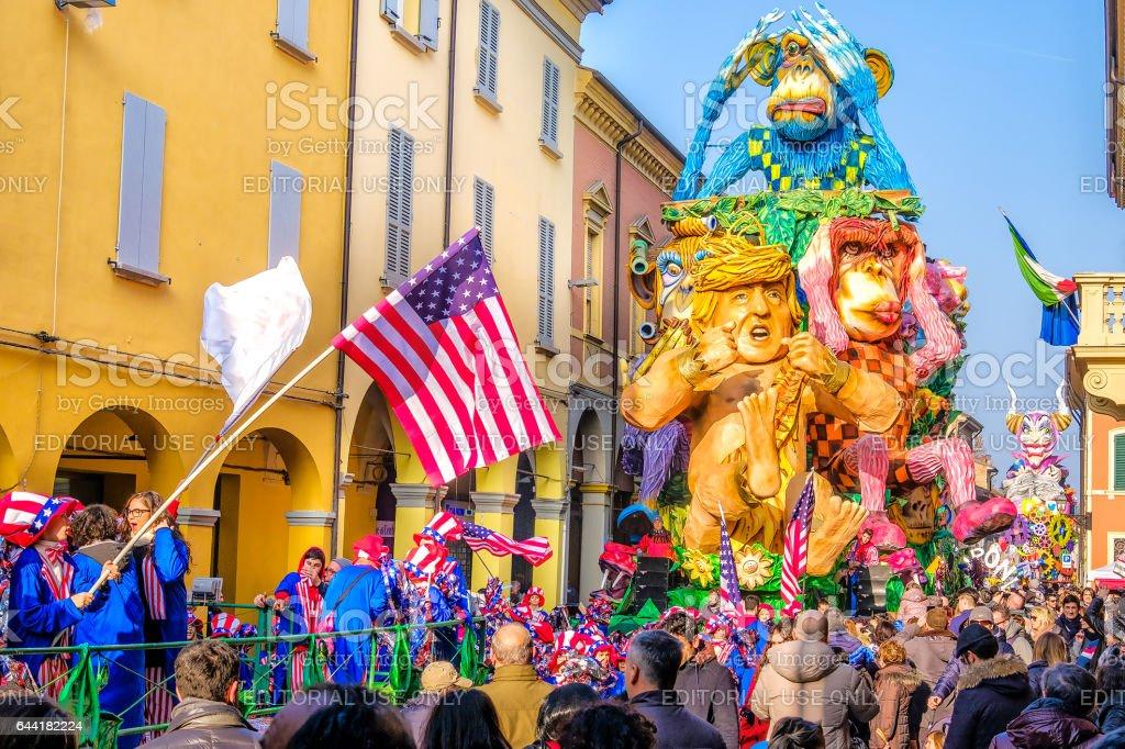 Carnevale di Cento Ferrara satirical parade float  Donald Trump stock photo