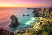 istock Carnewas and Bedruthan Steps is a stretch of coastline located on the north Cornish coast between Padstow and Newquay, in Cornwall, England, United Kingdom 1208557898