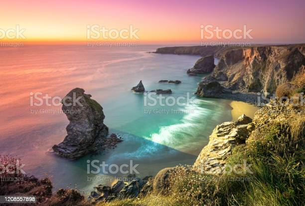 Photo of Carnewas and Bedruthan Steps is a stretch of coastline located on the north Cornish coast between Padstow and Newquay, in Cornwall, England, United Kingdom