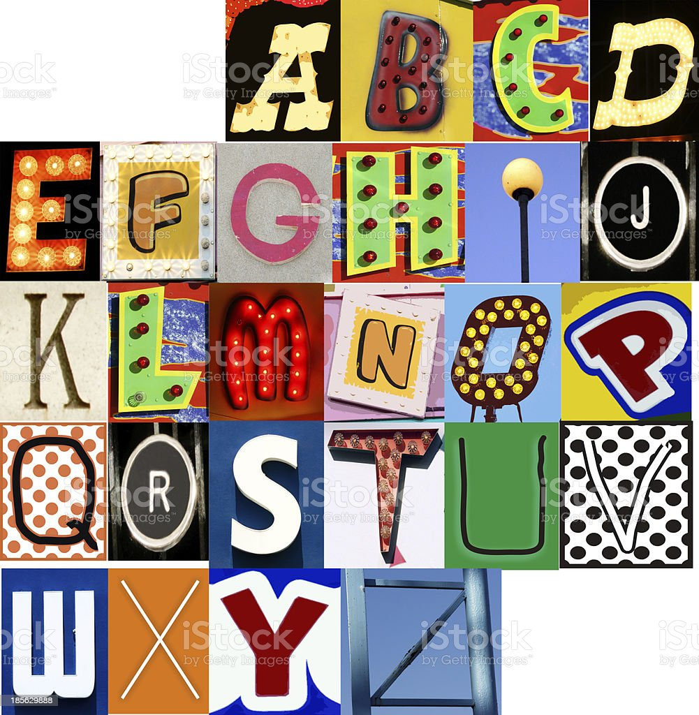 Carnival Alphabet Set JPG Letters Type Typography Characters Fonts stock photo