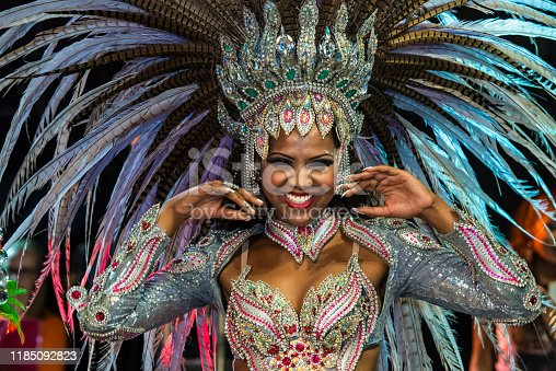 A close-up view of a beautiful Brazilian woman at the Carnaval parade
