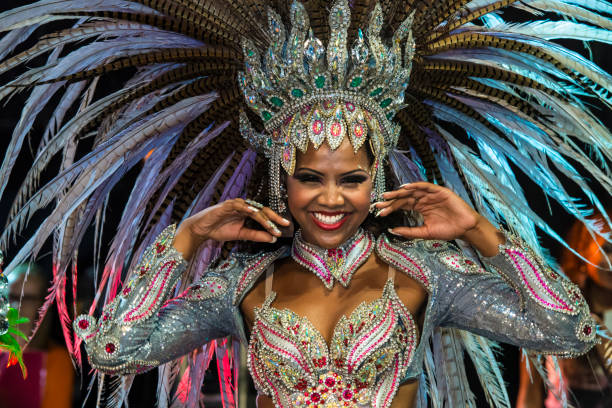 Carnival - Brazil A close-up view of a beautiful Brazilian woman at the Carnaval parade diva human role stock pictures, royalty-free photos & images