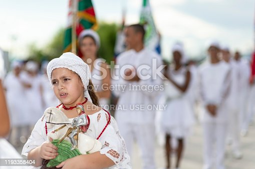 Florianópolis, Brazil - February 24, 2019: Image of members from the samba schools during the sambadrome religious blessing ceremony for the 2019 Carnaval Parade in Florianópolis, Santa Catarina State - Brazil