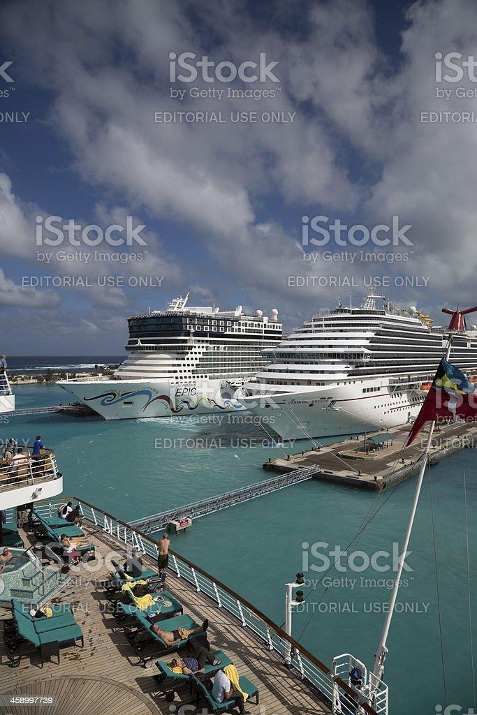 Carnival Breeze and Norwegian Epic in Nassau, Bahamas stock photo
